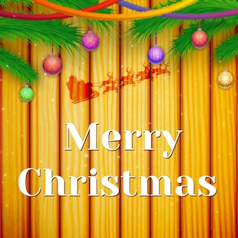 Cartão comemorativo de inverno com ramos de pinheiro verdes e fitas coloridas penduradas bolas ornamentadas na madeira