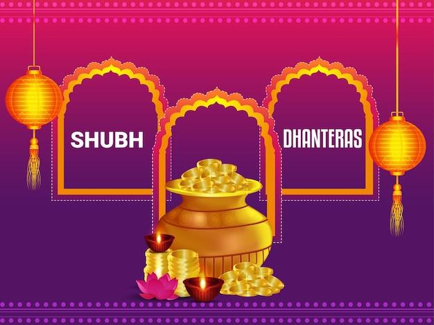 Cartão comemorativo de shubh dhanteras com kalash de moeda de ouro no fundo criativo