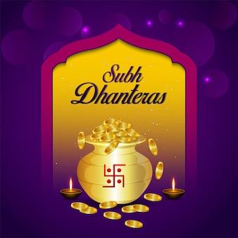 Cartão comemorativo de shubh dhanteras com pote criativo de moedas de ouro