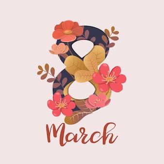 Cartão comemorativo do dia internacional da mulher com 8 e decorações florais