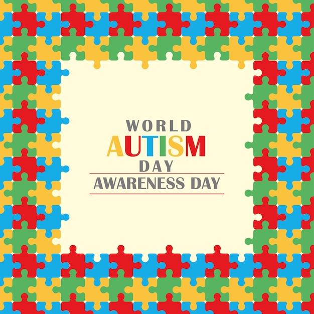 Cartão comemorativo do dia mundial da conscientização do autismo com moldura de quebra-cabeça Vetor Premium