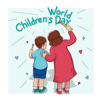 Cartão comemorativo do dia mundial da criança com mãe e filho pintando