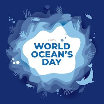 Cartão comemorativo do dia mundial do oceano com estilo simples