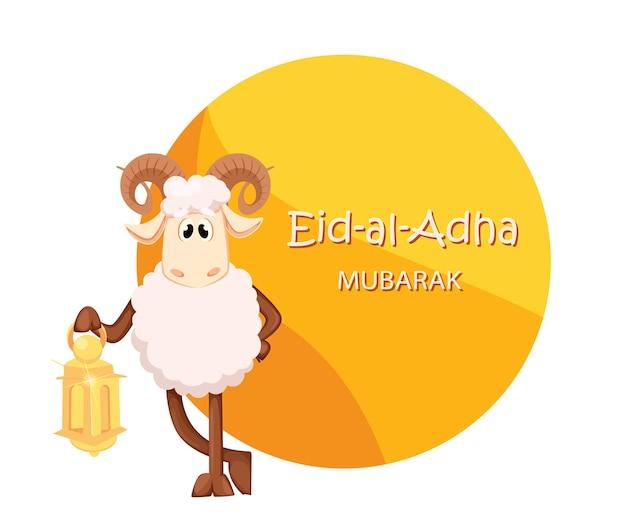 Cartão comemorativo do eid al adha mubarak com um carneiro engraçado segurando uma lanterna