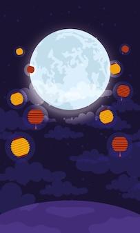 Cartão comemorativo do festival de meados do outono com ilustração vetorial de lua e lanternas