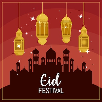 Cartão comemorativo do festival eid mubarak