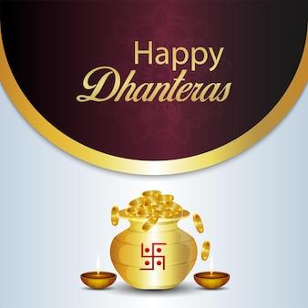 Cartão comemorativo do festival indiano feliz dhanteras