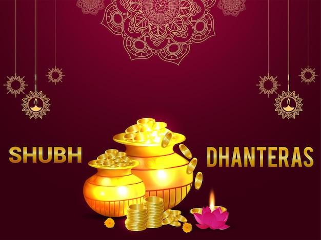 Cartão comemorativo do festival indiano shubh dhanteras com kalash em moeda de ouro