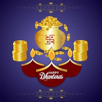 Cartão comemorativo do festival indiano shubh dhanteras com pote de moedas de ouro