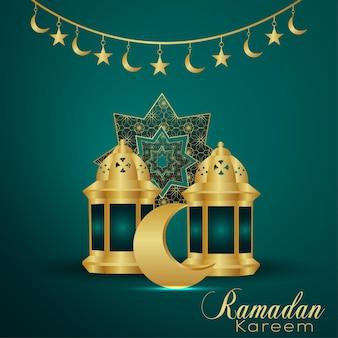 Cartão comemorativo do festival islâmico ramadan kareem com lua dourada e lanterna
