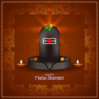 Cartão comemorativo do festival maha shivratri com moldura decorativa