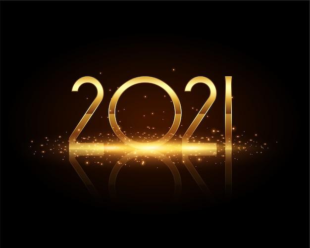 Cartão comemorativo dos desejos de brilhos dourados de ano novo de 2021