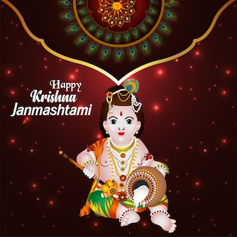Cartão comemorativo feliz janmashtami com ilustração do senhor krishna