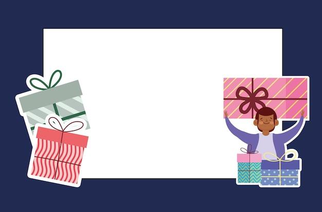Cartão comemorativo festa menino presentes decoração e ilustração cartoon celebração