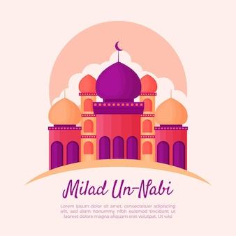Cartão comemorativo milad-un-nabi com mesquita