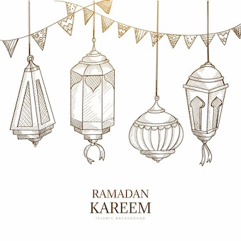 Cartão comemorativo ramadan kareem com lâmpadas penduradas