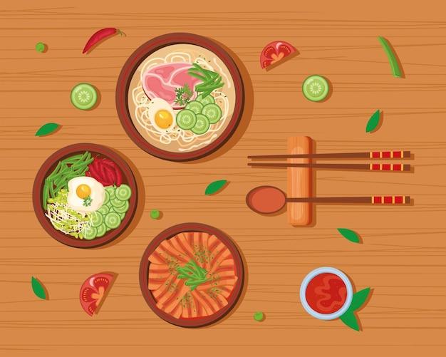 Cartão comida coreana