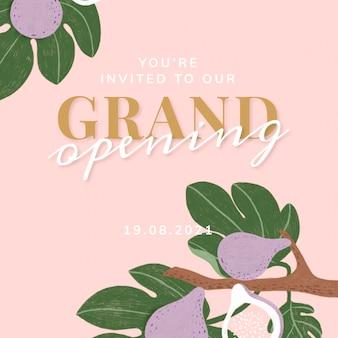 Cartão convidado de inauguração