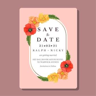 Cartão convite aquarela com moldura ouro modelo flor papoula