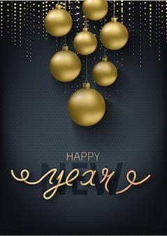Cartão, convite com feliz ano novo e natal. bolas de natal de ouro metálico, decoração, confetes cintilantes, brilhantes sobre um fundo preto. letras de escritos à mão.