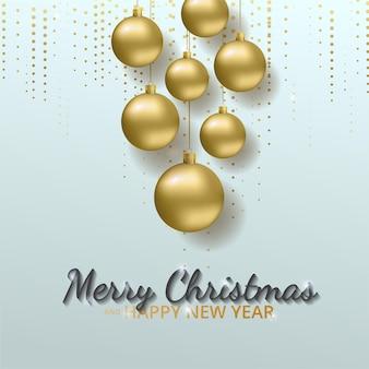 Cartão, convite com feliz ano novo e natal. bolas de natal em ouro metálico, decoração, cintilante, confeto brilhante.