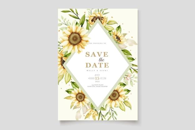 Cartão convite girassol aquarela
