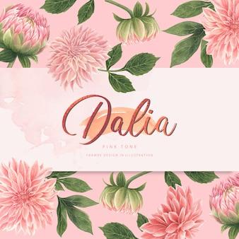 Cartão cor-de-rosa das flores de dalia da aguarela