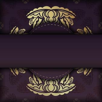 Cartão cor de vinho com luxuosos ornamentos de ouro para seu projeto.