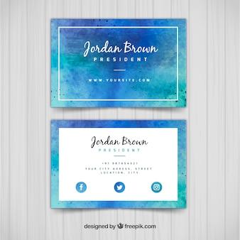 Cartão corporativo aquarela em tons azuis