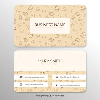 Cartão corporativo com doces desenhados à mão