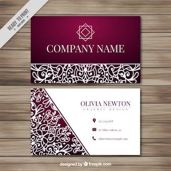 Cartão corporativo com elementos ornamentais