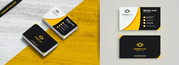 Cartão corporativo elegante amarelo