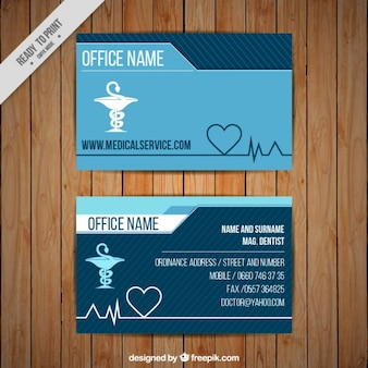 Cartão corporativo médica com o símbolo caduceu