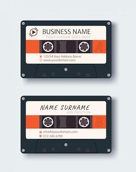Cartão corporativo. modelo de design de cartão de nome pessoal. imagem de fita de música vintage.