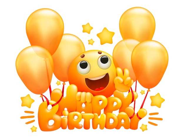Cartão criativo com título de feliz aniversário e personagem de desenho animado emoji amarelo voando em balões