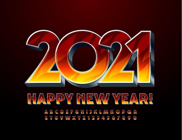 Cartão criativo feliz ano novo 2021! padrão de fogo e fonte de metal. conjunto de letras e números do alfabeto flamejante 3d