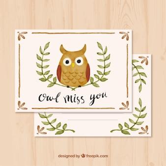 Cartão da aguarela com coruja e folhas