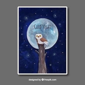 Cartão da aguarela com coruja e lua