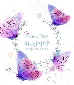 Cartão da aguarela das borboletas do dia da paz