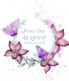 Cartão da aguarela das flores e das borboletas da
