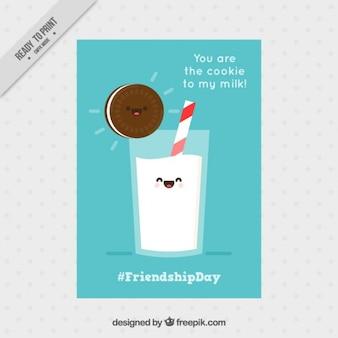 Cartão da amizade agradável com um biscoito e leite