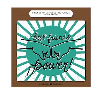 Cartão da amizade do vintage com os punhos