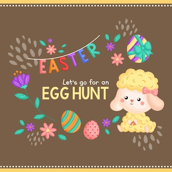 Cartão da caça do ovo da páscoa