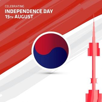 Cartão da celebração de coreia do sul do dia da independência