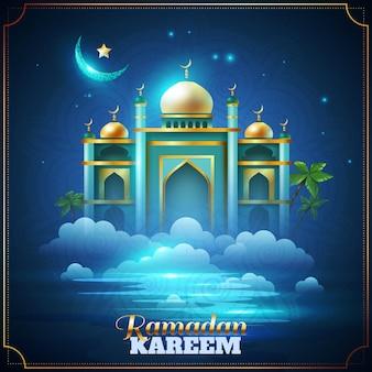 Cartão da mesquita da noite de ramadan kareem