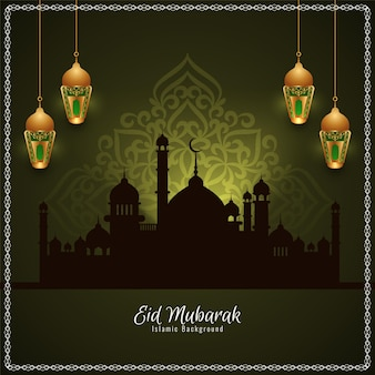 Cartão da mesquita eid mubarak com lanternas douradas