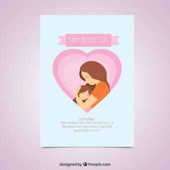 Cartão da mulher que abraça sua filha para o dia da mãe