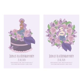 Cartão da sereia princesa aniversário