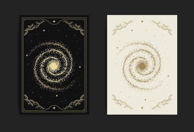 Cartão da via láctea, com gravura, luxo, esotérico, boho, espiritual, geométrico, astrologia, temas mágicos, para cartão de tarô.