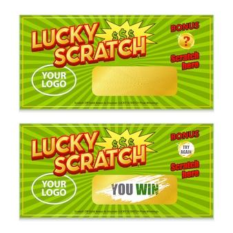 Cartão da vitória do jogo da loteria do risco